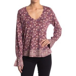 Lucky Brand Bell Sleeve Floral Blouse NWT